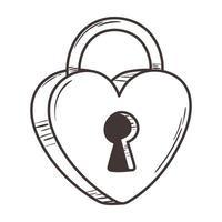 padlock shaped heart love romantic doodle icon design vector