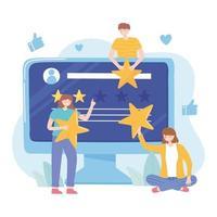 people rating and feedback website social media vector
