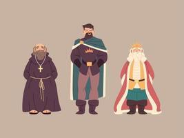 reyes con corona y túnicas reales vector