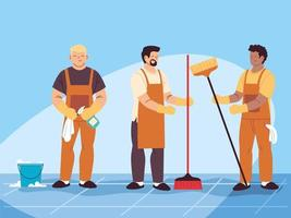 hygiene staff work as a team, janitors cleaning service vector