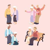 set of happy elderly couples, grandparents in different situations collection vector