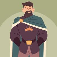 rey, hombre con túnicas reales, monarca vector