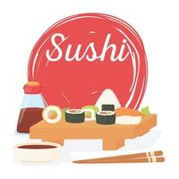 sushi time, rolls salsa cartel de cocina tradicional japonesa vector