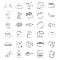 breakfast icons set, croissant bread juice fruits sandwich milk pancakes line style vector