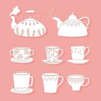tea and coffee teapots, cups, kettles different, line style vector