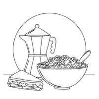 breakfast cereal and sandwich delicious food cartoon line style vector
