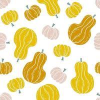 Cartoon style Halloween seamless pattern of multicolored pumpkins vector