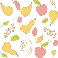 Vector pattern of colorfull pears apples and berries