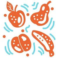 Simple doodle pattern of fruits vector