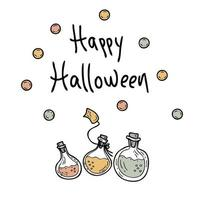 Happy Halloween drawing of magic potions with inscription doodle style hand drawn vector illustration