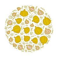 Hand drawn doodle vector round colorful pumpkin and garlic pattern