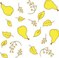 Vector pattern of bright yellow juicy pears leaves and branches of berries