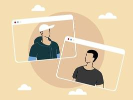 men talking in video call conference, social distancing vector