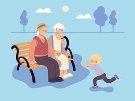 grandpa and grandma with grandson, happy grandparents day vector