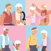 set of cards with elderly couples, happy grandparents day vector