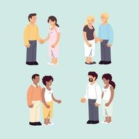 set of couples, romantic and happy couples, hugging and kissing vector
