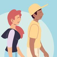 couple of people walking in the park, outdoor activity vector