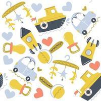 patrón sin fisuras de juguetes dibujados a mano. diseño de vivero. ilustración plana. vector