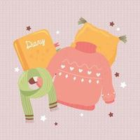 sweater scarf and cushion, cartoon hygge style vector