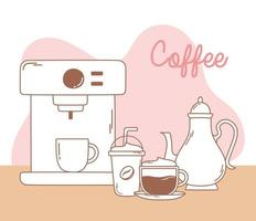 coffee machine frappe kettle and cappuccino line and fill vector