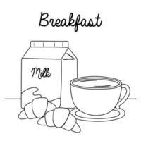 breakfast milk box coffee cup croissant delicious food cartoon line style vector