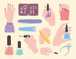 manicure, set icons hands nail polish cutter file kit tools and accessories vector