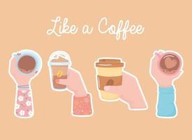 diferentes manos con tazas de café, comida para llevar y frappé, como un café vector