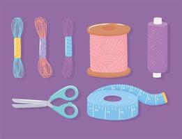 Tijeras de costura bola de lana cinta métrica y carretes de hilo conjunto de iconos vector