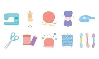 needlework tools icons, measuring tape, scissors, yarn skeins buttons and pins vector