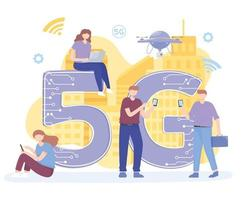 people with gadgets use high speed internet 5G network wireless technology vector