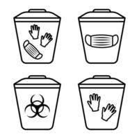 Biohazard waste disposal. Bin, with the symbol of infectious waste. Garbage sorting vector icon. Trash can with Biohazard medical gloves and mask symbol. Editable stroke. Outline. Vector