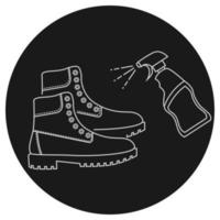 Disinfectant mat. Sanitizing mat, outline icon. Sterile shoe's surface. Shoe disinfection with alcohol spray. Sterile feet surface. Editable stroke. Vector illustration