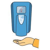 desinfectante de manos libres. Dispensador automático de jabón de pared. Equipo de baño automatizado sin contacto con sensores. desinfectante de manos touch less en color azul. dispensador de jabón. vector