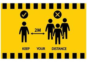 Social distancing icon. No gathering. Keep your distance. Avoid crowds. Yellow warning tape. Social distancing prevention virus icon. Vector