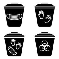 Biohazard waste disposal. Bin, with the symbol of infectious waste. Disposal of medical supplies. Garbage sorting vector icon set. Trash can with Biohazard medical gloves and mask symbol