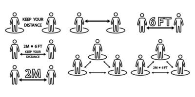 Social distancing icon. Keep a safe distance social distancing in queue 2 meters or 6 feet. Infographic against the spread of the virus. Avoid crowds. Editable stroke. Vector
