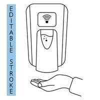 desinfectante de manos libres. Dispensador automático de jabón de pared. Equipo de baño automatizado sin contacto con sensores. toque menos desinfectante. dispensador de jabón. trazo editable. vector