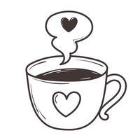 coffee cup love romantic heart doodle icon design vector