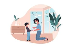 Mother and kid hand antiseptic treatment vector