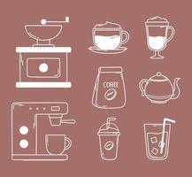 café máquina tostadora manual hervidor frappe frío fresco iconos línea y relleno vector