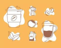 taza desechable de café frappe moka pot e iconos de breans línea y relleno vector