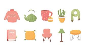 sweater teapot coffee cup plant scarf book chair lamp table icons collecyion cartoon hygge style vector
