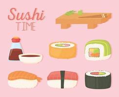sushi time plato de madera salsa de soja en botella y diseño de rollos vector