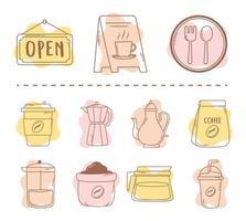 paquete de restaurante de café tazas de olla moka y línea de icono de frappé y relleno vector