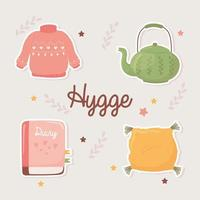 sweater teapot book and cushion, cartoon hygge style vector