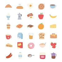 breakfast icons set, croissant bread juice fruits sandwich milk pancakes vector