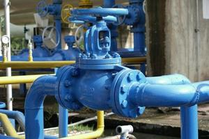 Valves at gas plant Pressure safety valve to protect piping system from over pressure photo