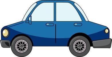 Coche sedán azul en estilo de dibujos animados aislado sobre fondo blanco. vector