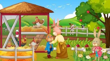 Garden scene with many rabbits cartoon character vector