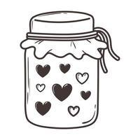 jar with hearts love romantic doodle icon design vector